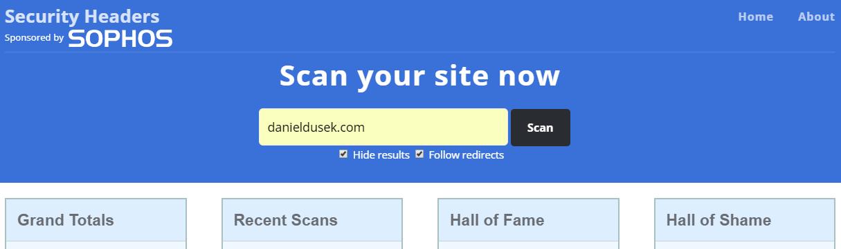 danieldusek.com in securityheaders.io scanner