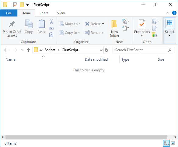 Image of the folder in which the script is to be developed