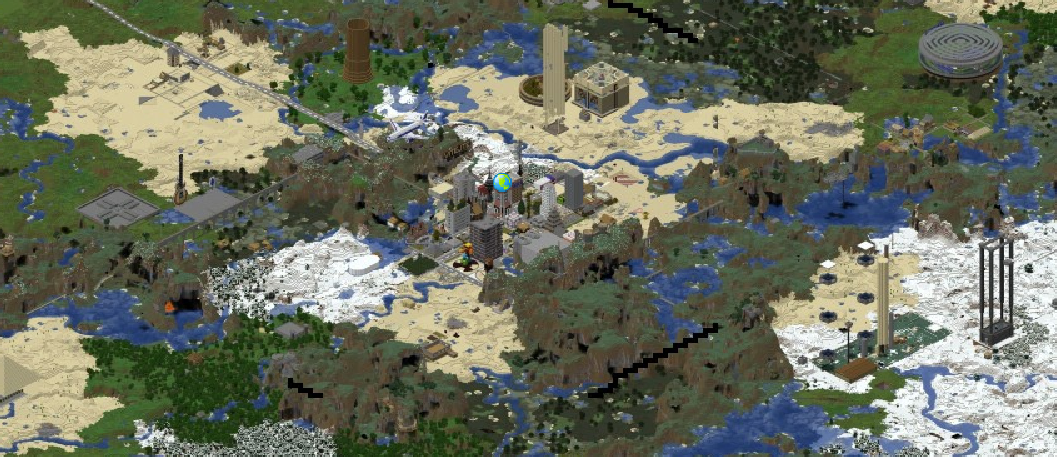 Image of the Minecraft map produced by the Dynmap plugin that shows the rendered 3D map.